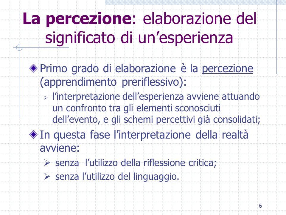 La percezione: elaborazione del significato di un'esperienza