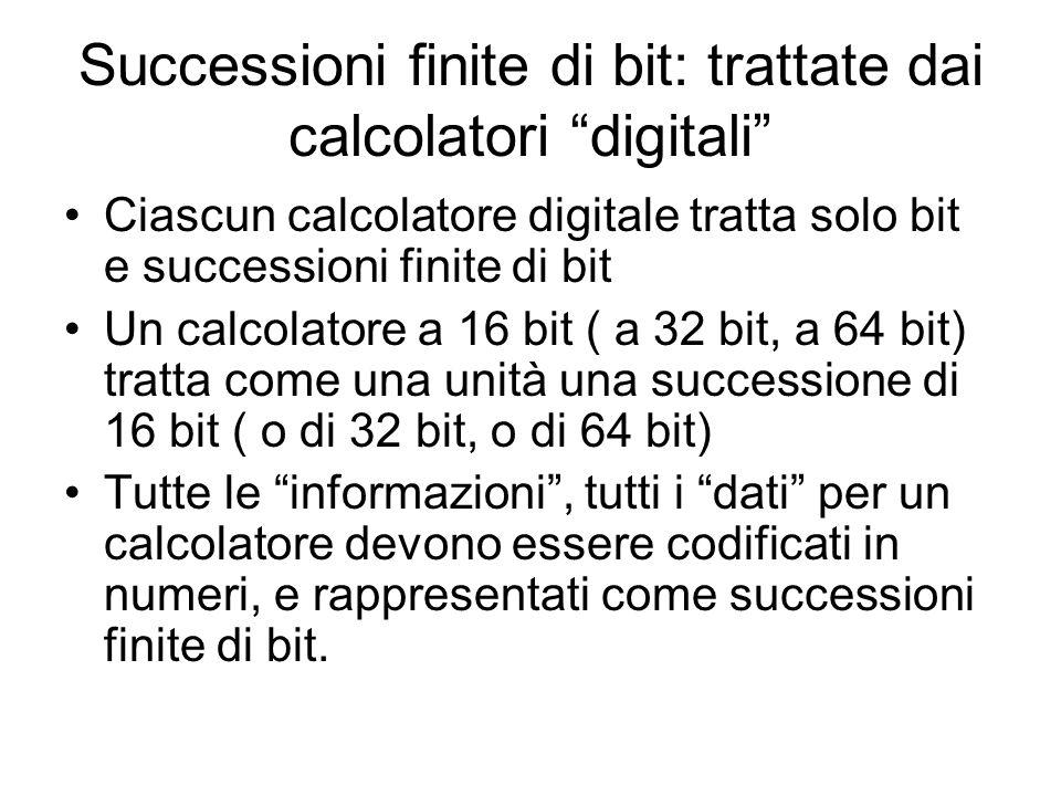 Successioni finite di bit: trattate dai calcolatori digitali