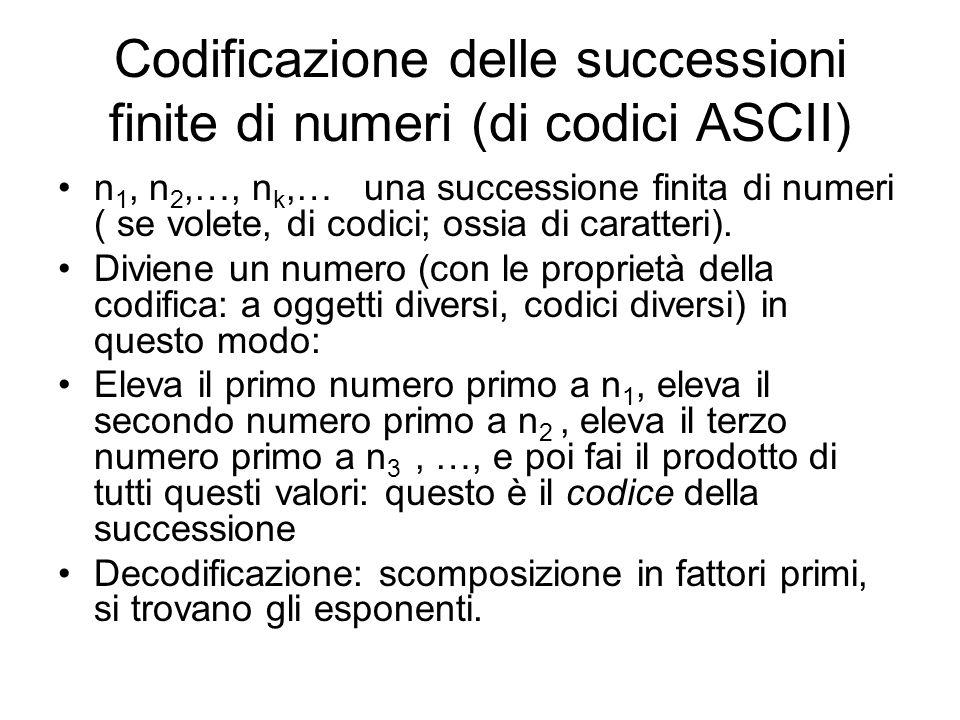 Codificazione delle successioni finite di numeri (di codici ASCII)