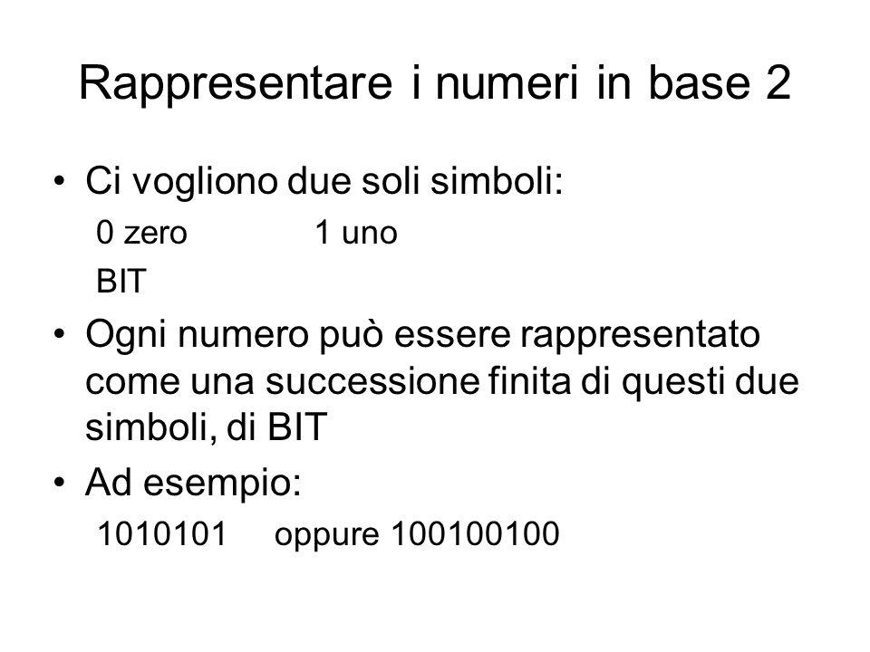 Rappresentare i numeri in base 2