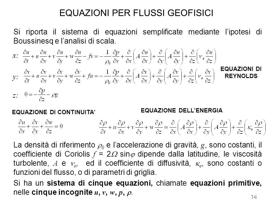 EQUAZIONI PER FLUSSI GEOFISICI