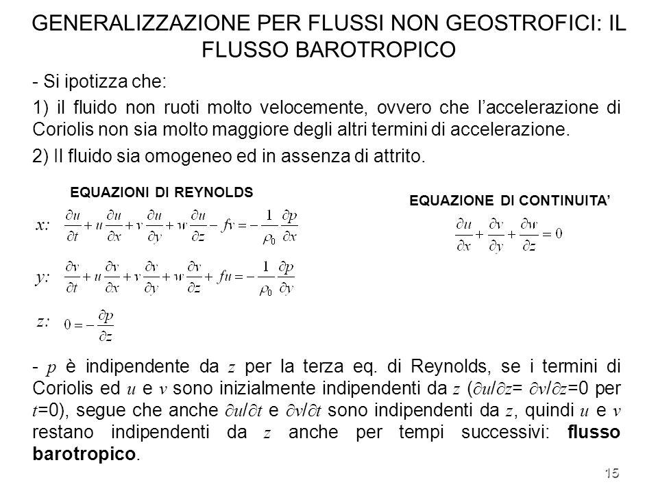 GENERALIZZAZIONE PER FLUSSI NON GEOSTROFICI: IL FLUSSO BAROTROPICO