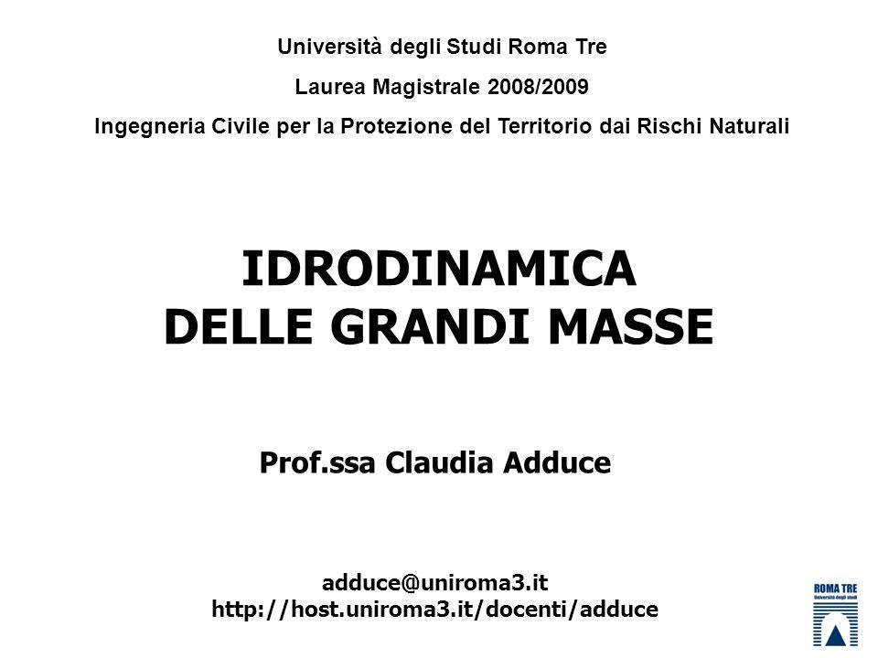 IDRODINAMICA DELLE GRANDI MASSE