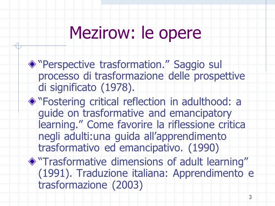 Mezirow: le opere Perspective trasformation. Saggio sul processo di trasformazione delle prospettive di significato (1978).