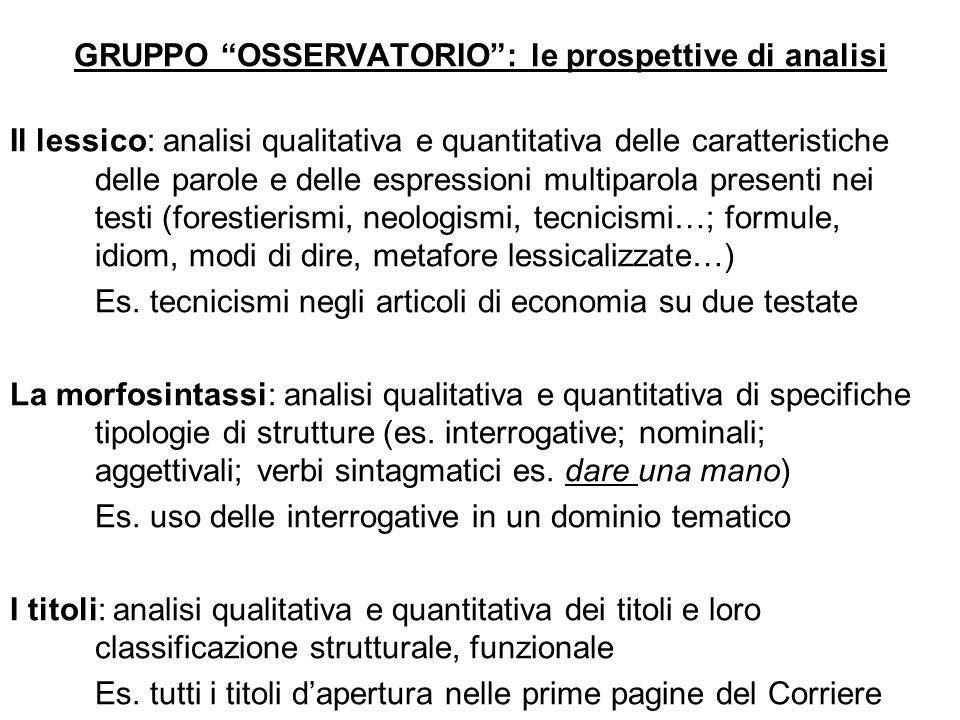 GRUPPO OSSERVATORIO : le prospettive di analisi
