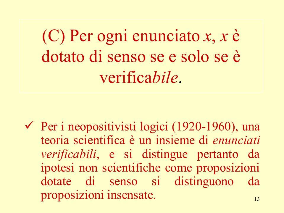 (C) Per ogni enunciato x, x è dotato di senso se e solo se è verificabile.
