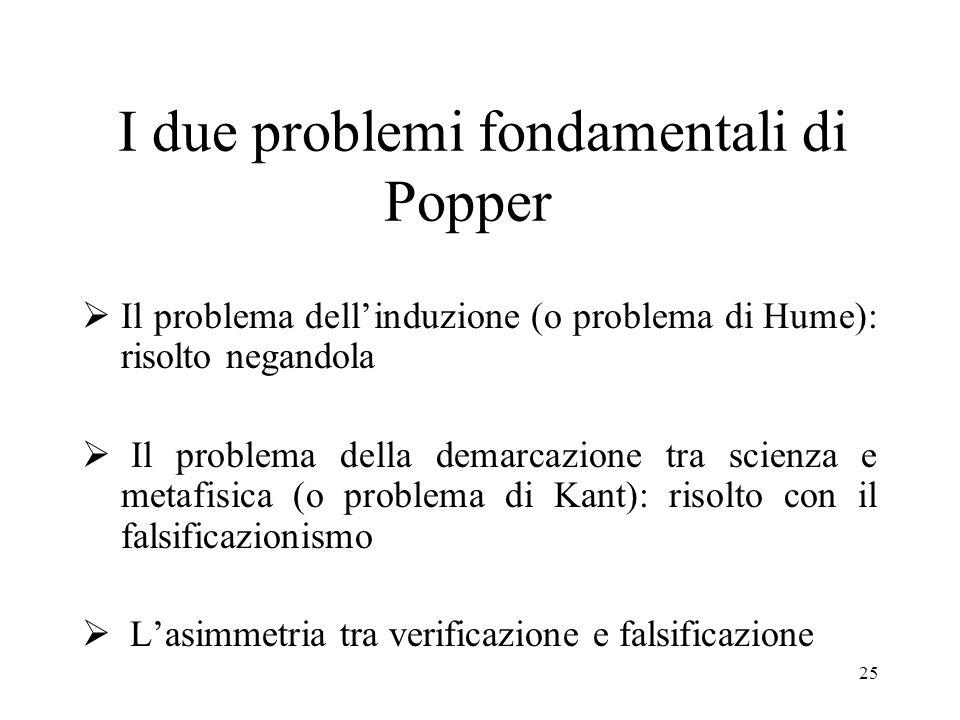 I due problemi fondamentali di Popper