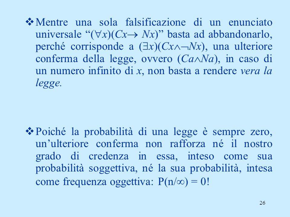 Mentre una sola falsificazione di un enunciato universale (x)(Cx Nx) basta ad abbandonarlo, perché corrisponde a (x)(CxNx), una ulteriore conferma della legge, ovvero (CaNa), in caso di un numero infinito di x, non basta a rendere vera la legge.