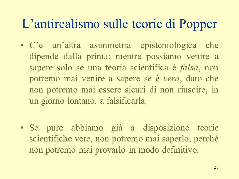 L'antirealismo sulle teorie di Popper