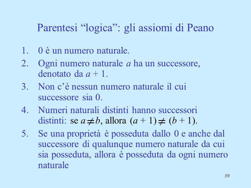 Parentesi logica : gli assiomi di Peano