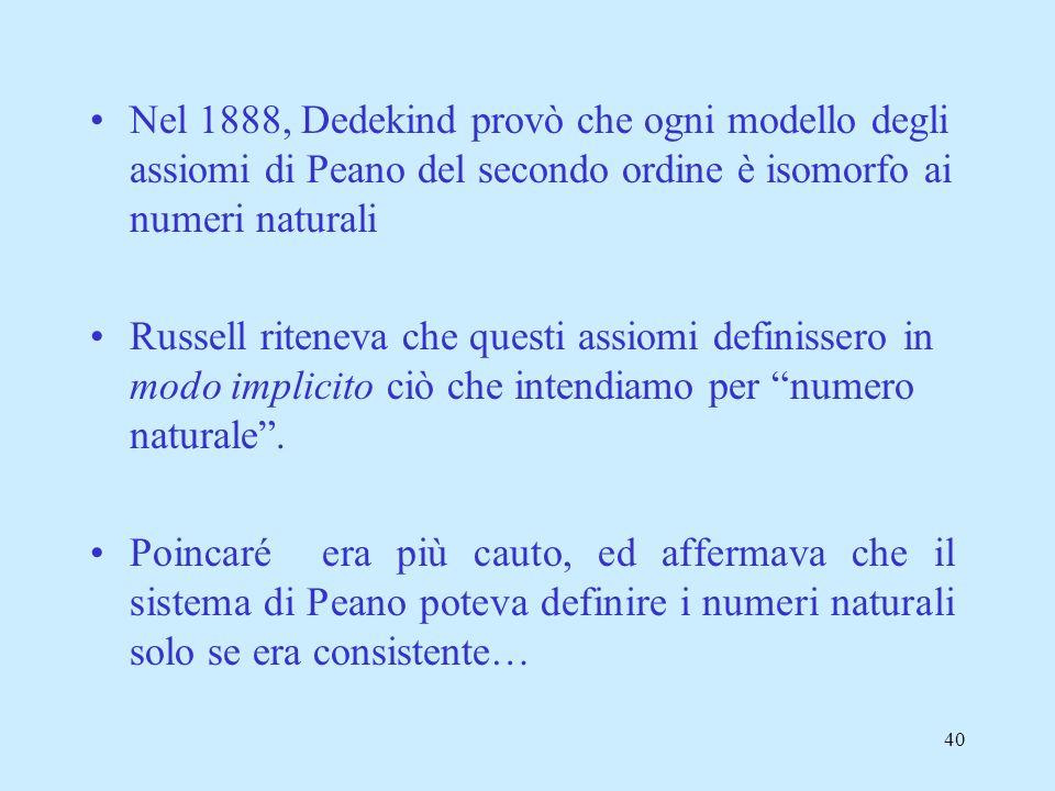 Nel 1888, Dedekind provò che ogni modello degli assiomi di Peano del secondo ordine è isomorfo ai numeri naturali