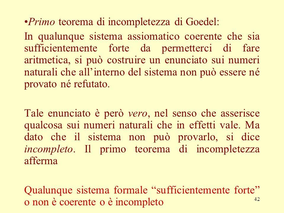 Primo teorema di incompletezza di Goedel: