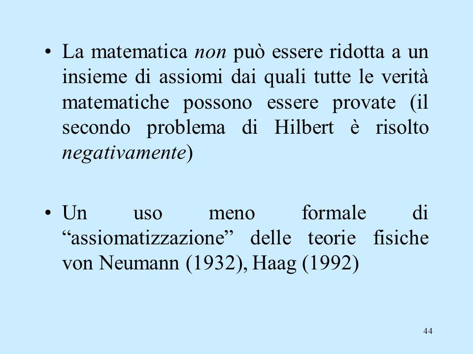 La matematica non può essere ridotta a un insieme di assiomi dai quali tutte le verità matematiche possono essere provate (il secondo problema di Hilbert è risolto negativamente)