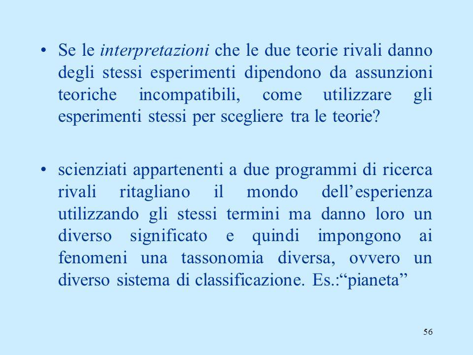 Se le interpretazioni che le due teorie rivali danno degli stessi esperimenti dipendono da assunzioni teoriche incompatibili, come utilizzare gli esperimenti stessi per scegliere tra le teorie