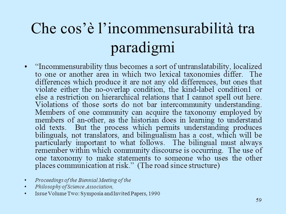 Che cos'è l'incommensurabilità tra paradigmi