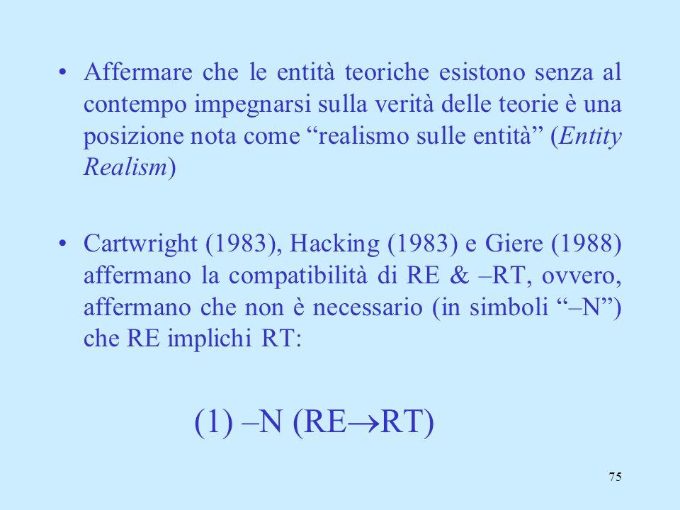 Affermare che le entità teoriche esistono senza al contempo impegnarsi sulla verità delle teorie è una posizione nota come realismo sulle entità (Entity Realism)
