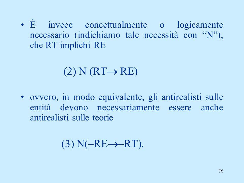 È invece concettualmente o logicamente necessario (indichiamo tale necessità con N ), che RT implichi RE