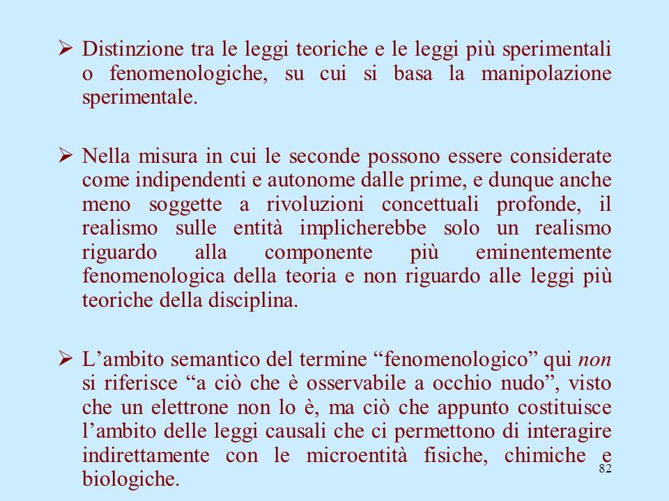 Distinzione tra le leggi teoriche e le leggi più sperimentali o fenomenologiche, su cui si basa la manipolazione sperimentale.