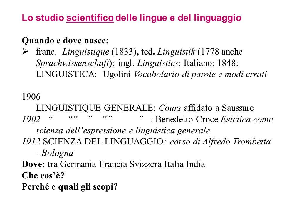 Lo studio scientifico delle lingue e del linguaggio