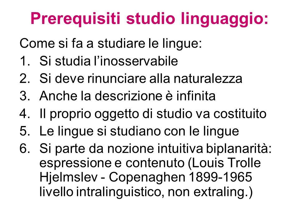 Prerequisiti studio linguaggio: