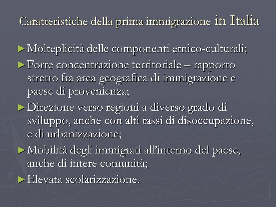 Caratteristiche della prima immigrazione in Italia