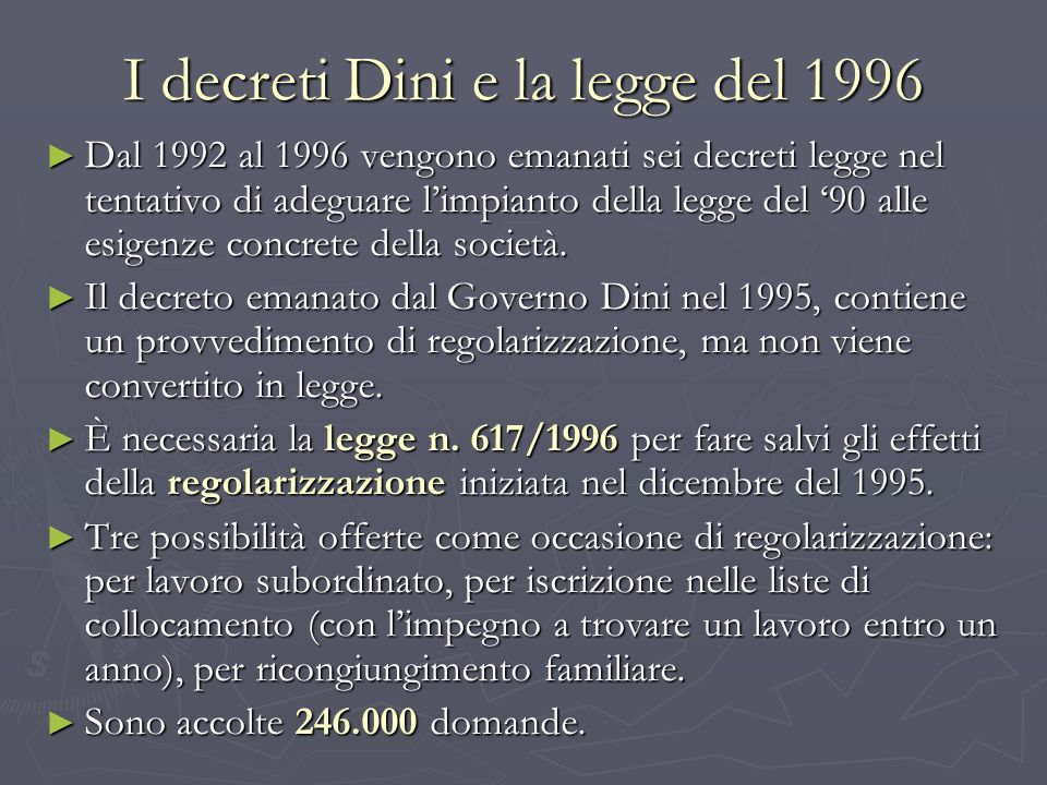 I decreti Dini e la legge del 1996