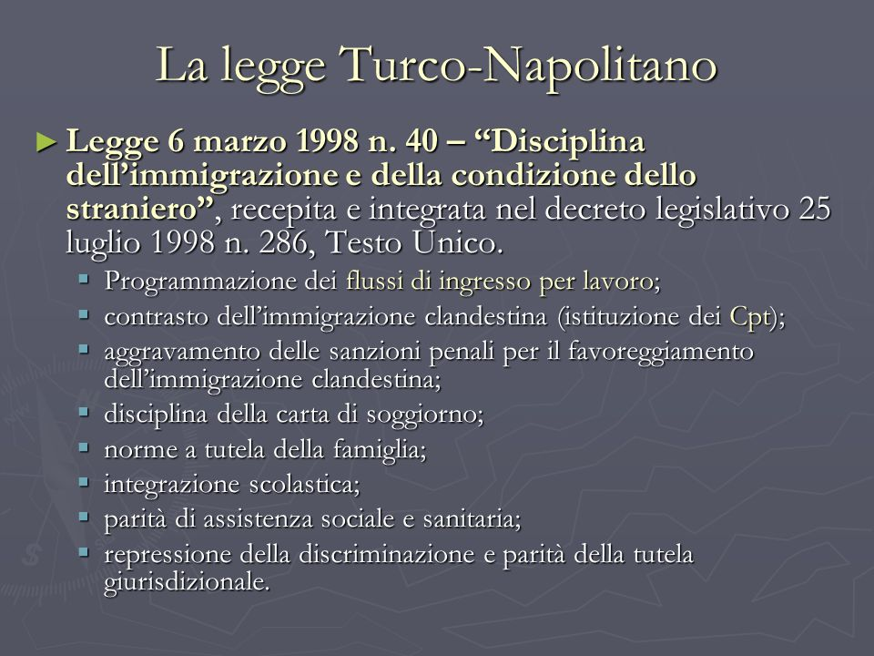 La legge Turco-Napolitano