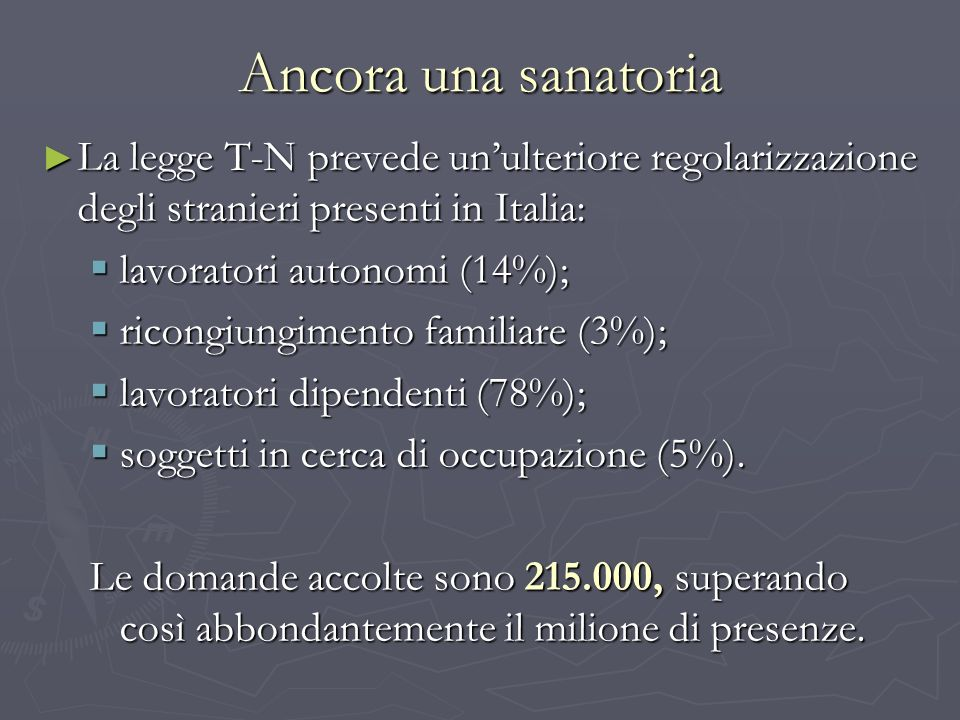 Ancora una sanatoriaLa legge T-N prevede un'ulteriore regolarizzazione degli stranieri presenti in Italia: