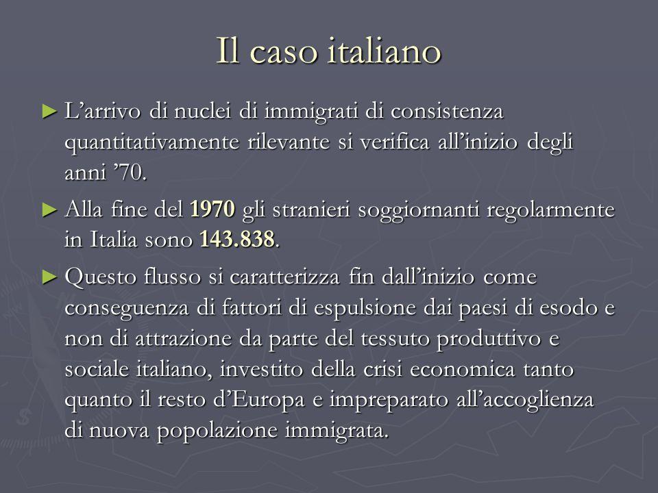 Il caso italiano L'arrivo di nuclei di immigrati di consistenza quantitativamente rilevante si verifica all'inizio degli anni '70.