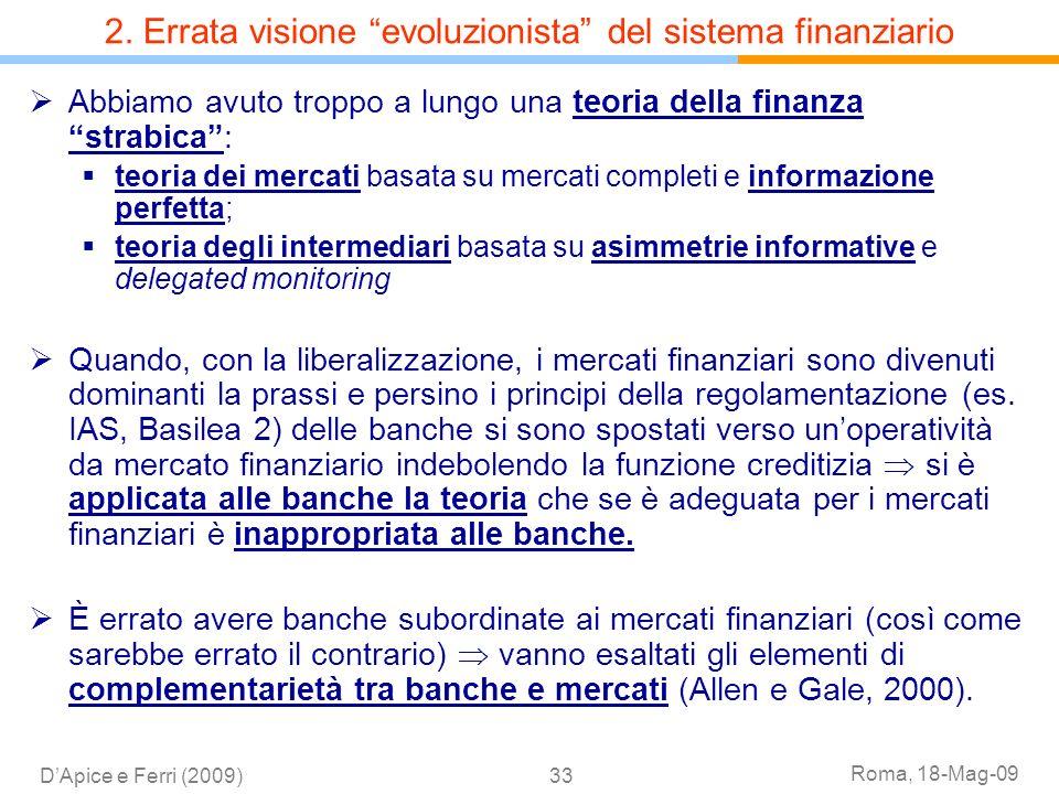 2. Errata visione evoluzionista del sistema finanziario