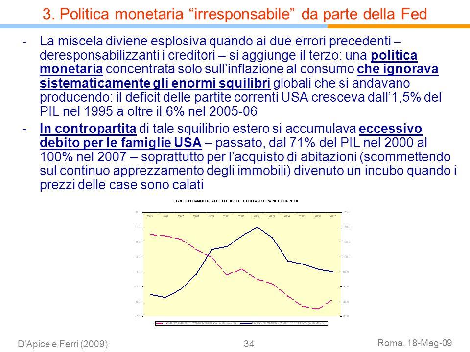 3. Politica monetaria irresponsabile da parte della Fed