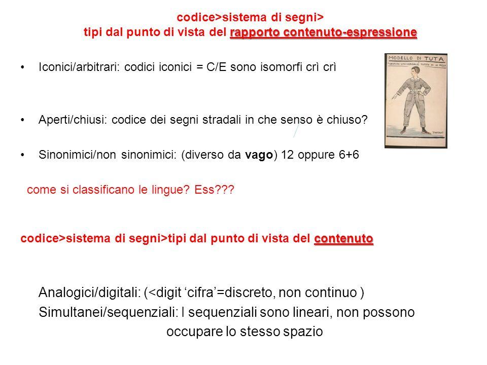 Analogici/digitali: (<digit 'cifra'=discreto, non continuo )