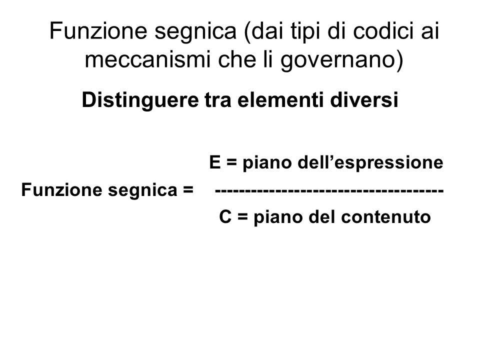 Funzione segnica (dai tipi di codici ai meccanismi che li governano)