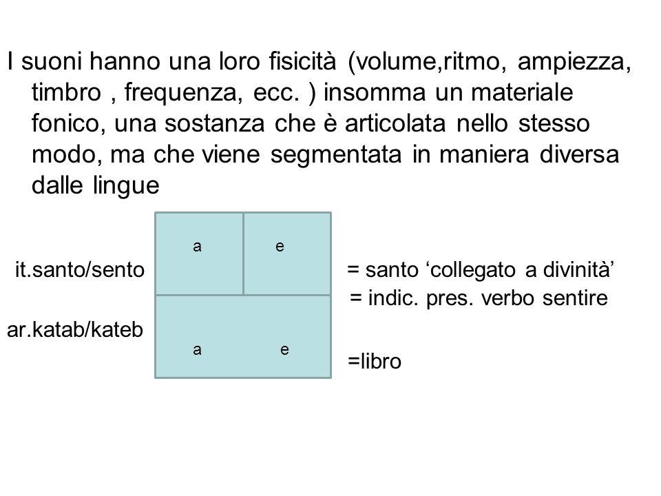 I suoni hanno una loro fisicità (volume,ritmo, ampiezza, timbro , frequenza, ecc. ) insomma un materiale fonico, una sostanza che è articolata nello stesso modo, ma che viene segmentata in maniera diversa dalle lingue