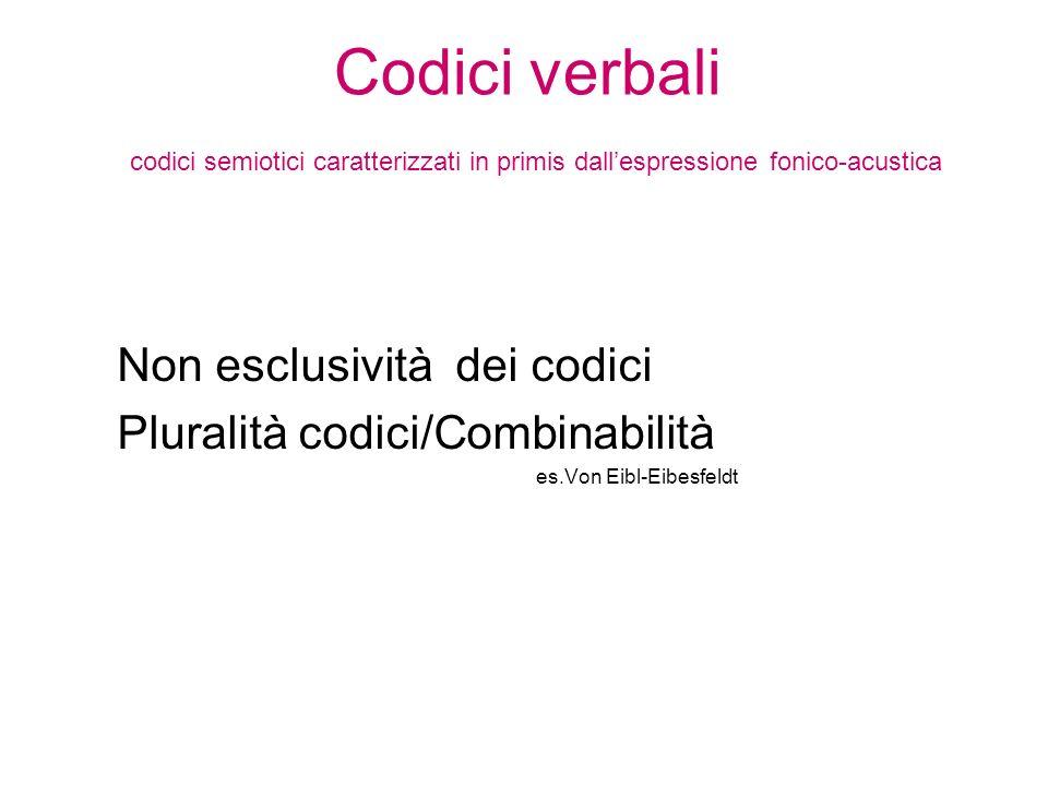 Codici verbali codici semiotici caratterizzati in primis dall'espressione fonico-acustica
