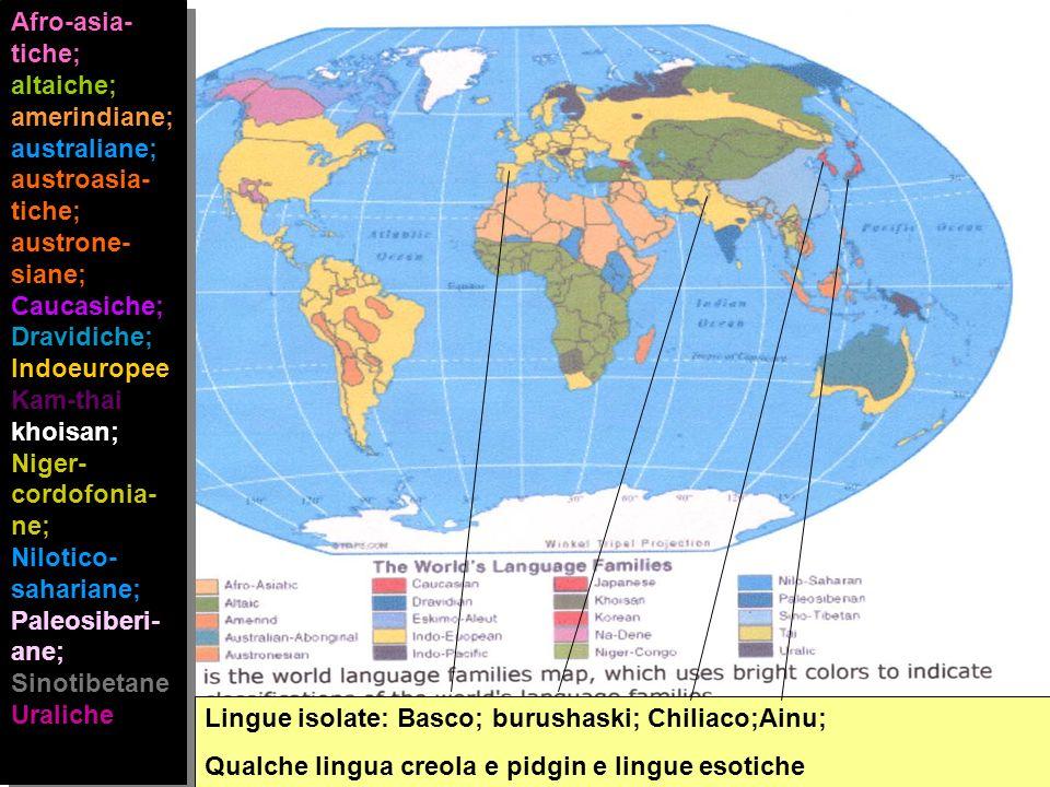Afro-asia-tiche; altaiche; amerindiane; australiane; austroasia-tiche; austrone-siane; Caucasiche; Dravidiche; IndoeuropeeKam-thai; khoisan; Niger-cordofonia-ne;