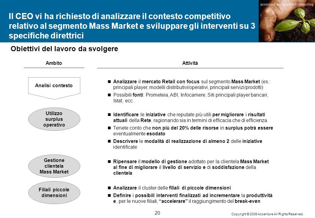 Il CEO vi ha richiesto di analizzare il contesto competitivo relativo al segmento Mass Market e sviluppare gli interventi su 3 specifiche direttrici
