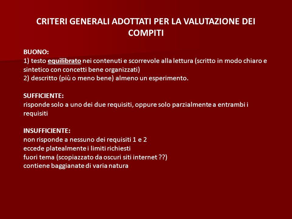 CRITERI GENERALI ADOTTATI PER LA VALUTAZIONE DEI COMPITI