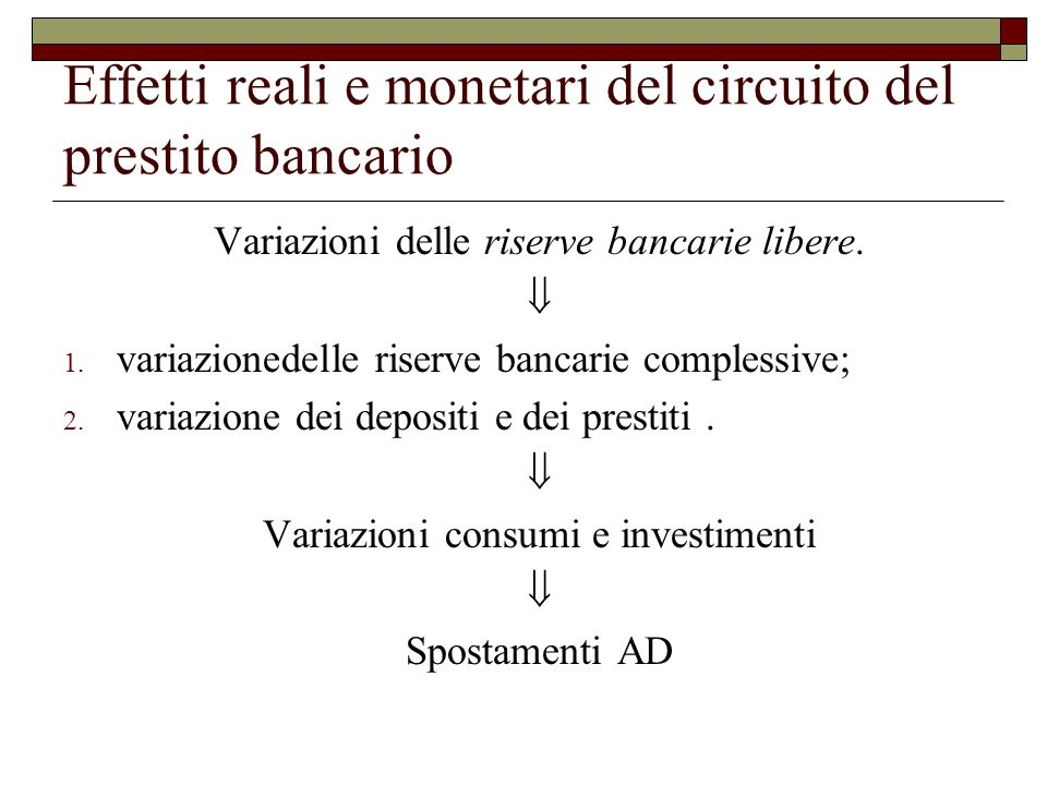 Effetti reali e monetari del circuito del prestito bancario