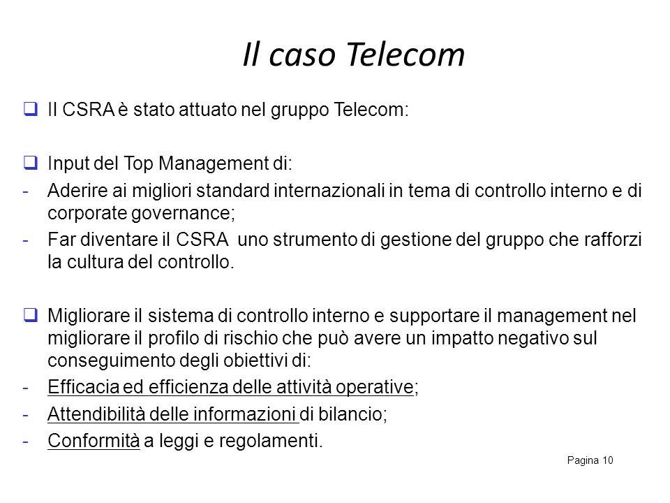 Il caso Telecom Il CSRA è stato attuato nel gruppo Telecom: