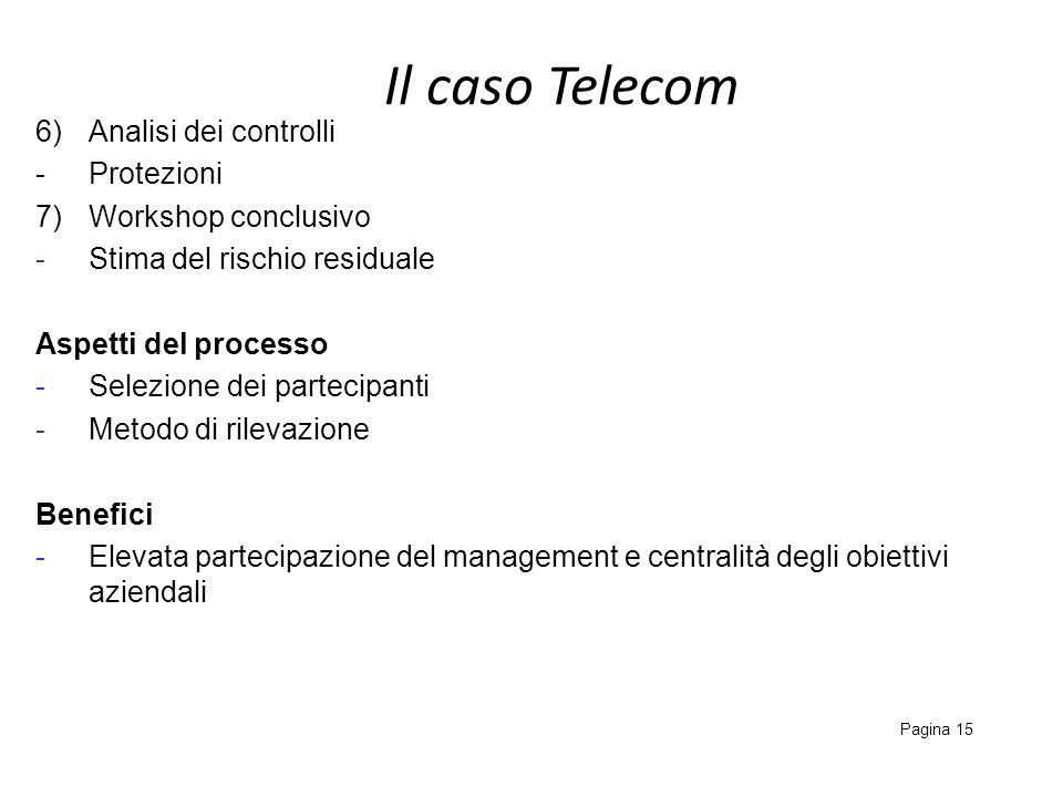 Il caso Telecom 6) Analisi dei controlli - Protezioni