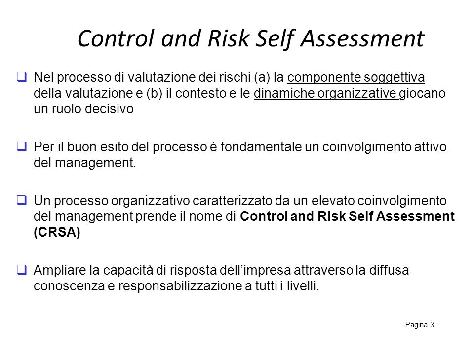 Control and Risk Self Assessment