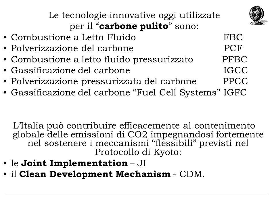 Le tecnologie innovative oggi utilizzate per il carbone pulito sono: