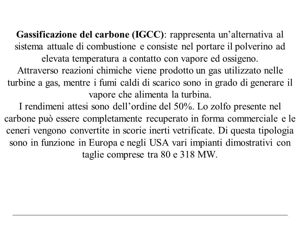 Gassificazione del carbone (IGCC): rappresenta un'alternativa al sistema attuale di combustione e consiste nel portare il polverino ad elevata temperatura a contatto con vapore ed ossigeno.