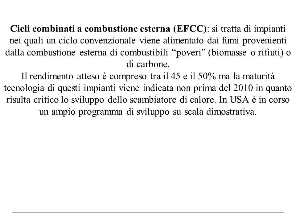 Cicli combinati a combustione esterna (EFCC): si tratta di impianti nei quali un ciclo convenzionale viene alimentato dai fumi provenienti dalla combustione esterna di combustibili poveri (biomasse o rifiuti) o di carbone.