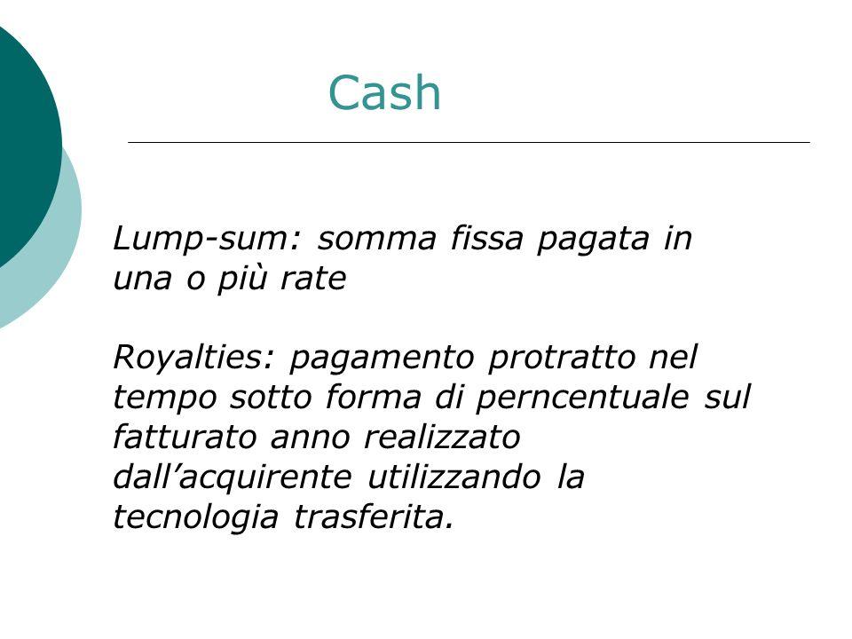 Cash Lump-sum: somma fissa pagata in una o più rate