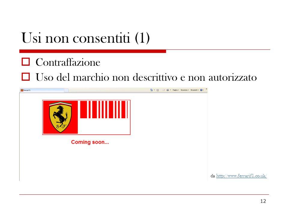 Usi non consentiti (1) Contraffazione