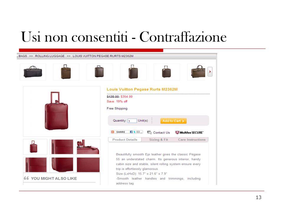 Usi non consentiti - Contraffazione