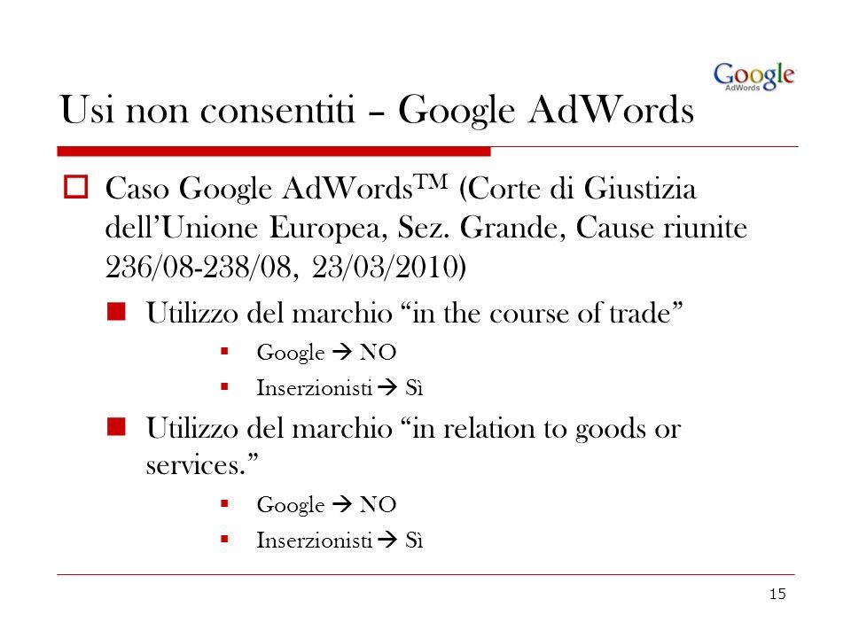 Usi non consentiti – Google AdWords