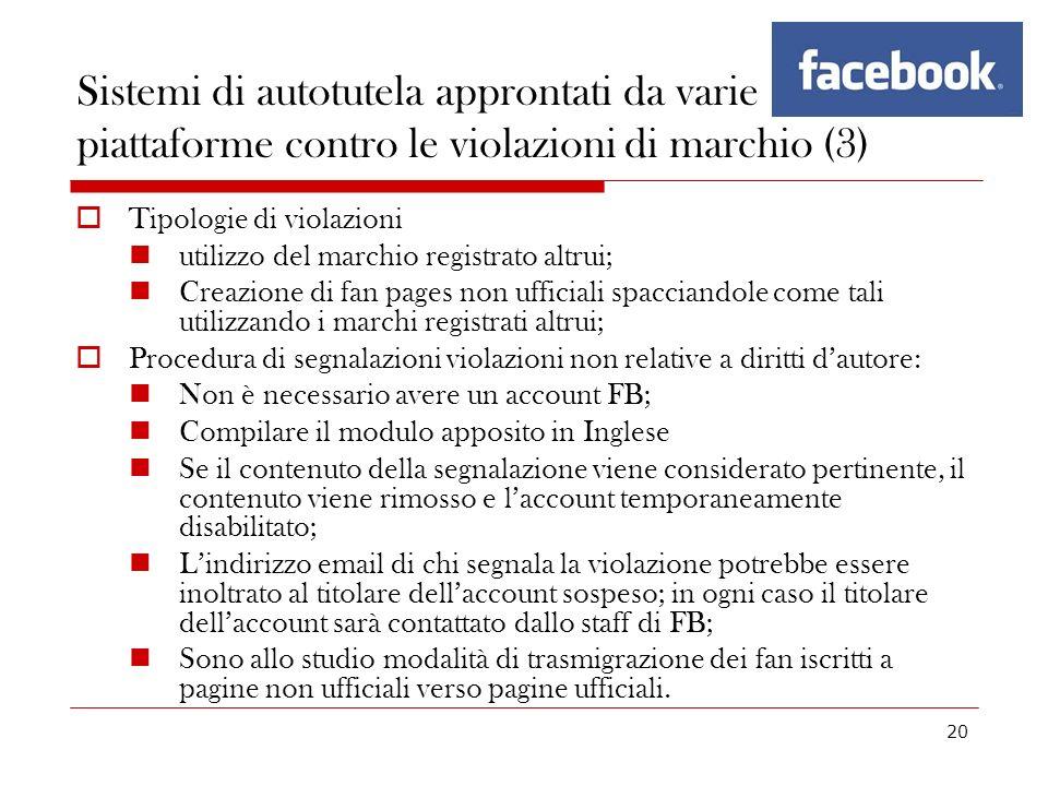 Sistemi di autotutela approntati da varie piattaforme contro le violazioni di marchio (3)
